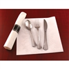 Reflection Fork, Knife, Spoon in a White Linen Napkin Roll - 30