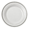 Plastic Plates - White with Silver Trim -  7.5 in / 15 ct