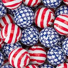 Foiled Milk Chocolate Stars-N-Stripes Balls - 5 lb Bag