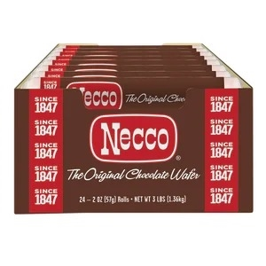 Necco Chocolate Wafers 2.02 oz Roll Box of 24