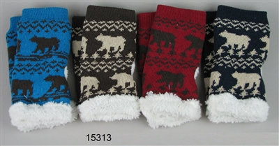 Texting Gloves Bear Design with Sherpa Fleece Lining