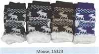 Texting Gloves Moose Design with Sherpa Fleece Lining