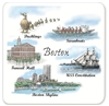 Barlow Designs - Boston Collage set of 4 Coasters
