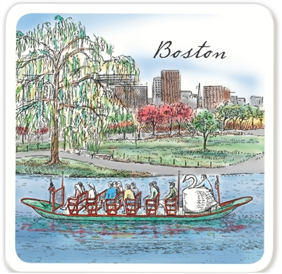 Barlow Designs - Boston Swanboat set of 4 Coasters