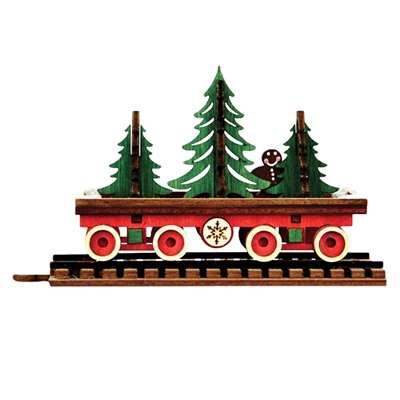 Old World Christmas-Ginger Cottages - Santa's Flat Car