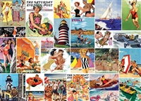 Puzzle - SATURDAY EVENING POST - Beach Time Collage 1000 Piece Jigsaw Puzzle