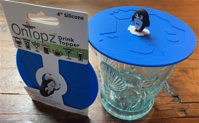 "OnTopz - 4"" Drink Topper - Penguin Floating on Ice"
