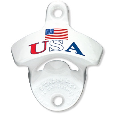 StarrX Bottle Opener - White - USA with Flag