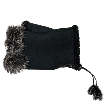 Texting Gloves Faux Fur Black