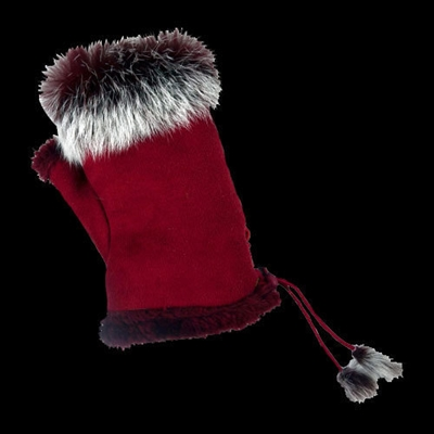 Texting Gloves Faux Fur Cranberry