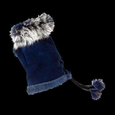 Texting Gloves Faux Fur Navy