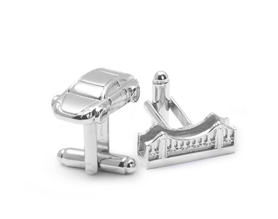 Cufflink Set - Car and Bridge