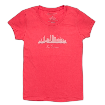 T-Shirt - Girls San Francisco Skyline - Red