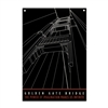 Metal Sign - Golden Gate Bridge Black/White