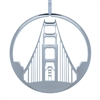 Ornament - Polished Nickel Golden Gate Bridge Tower