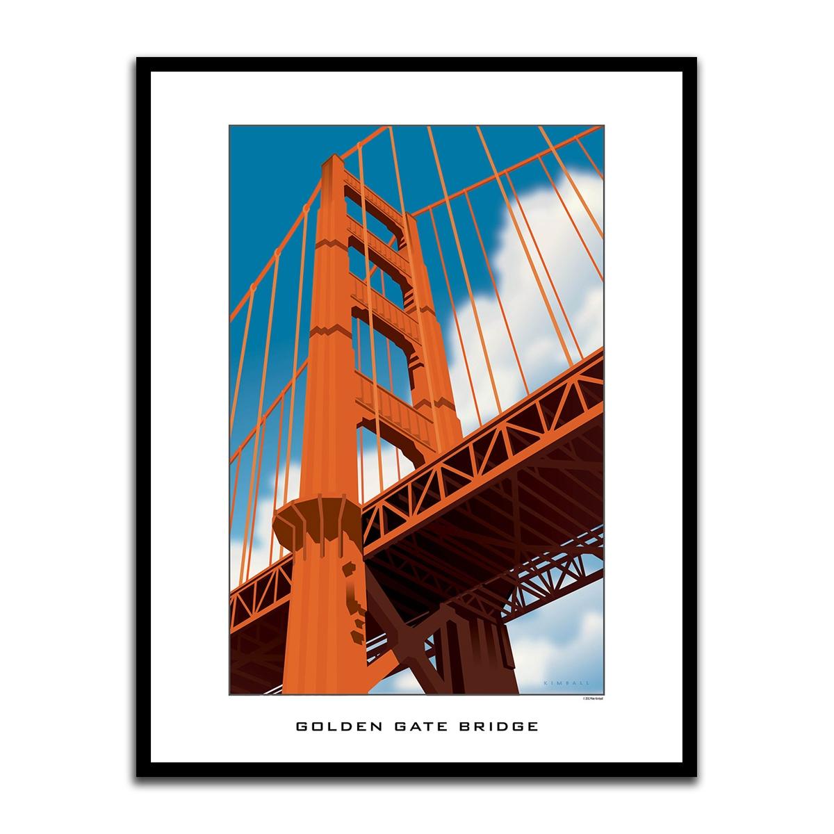Framed Poster Golden Gate Bridge Graphic Diagram Of The
