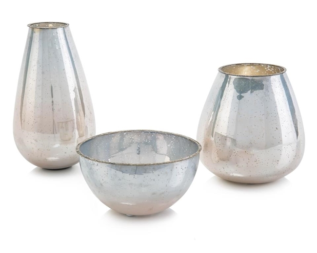 Set of One Bowl and Two Vases