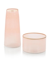 Set of Two Palest of Pink Glass Vases (Large)