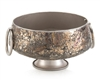 Glass Mosaic Bowl with Metallic Bronze Handles