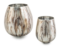 Pair of Vases in Deep Brown - Small Only