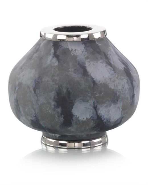 Metal Vase in Blue Hues