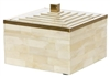 Square Ivory Bone Box with Gold Accents