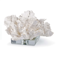 Flower Coral On Crystal Base White