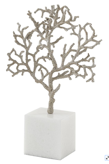 Branch Coral on Marble Base