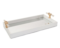 White Tray with Selenite Handles