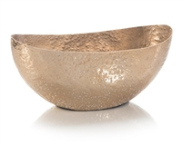 Oval Aged Gold Bowl with Hammer texture