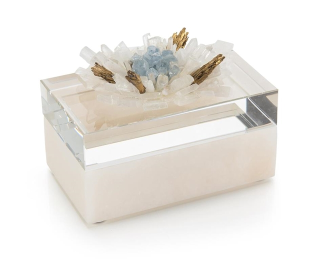 Alabaster Box adorned with Quartz Crystals