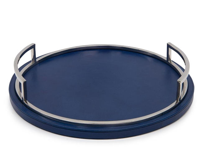 Blue Leather and Polished Nickel Tray
