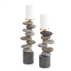 River Rock Candle Holders