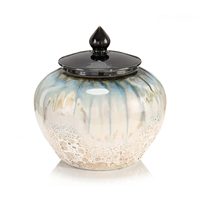 White and Smalt Blue Lidded Jar II