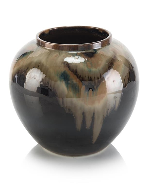 Small Black, brown and cream jar
