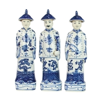 Blue and White Porcelain Standing Qing Emperors