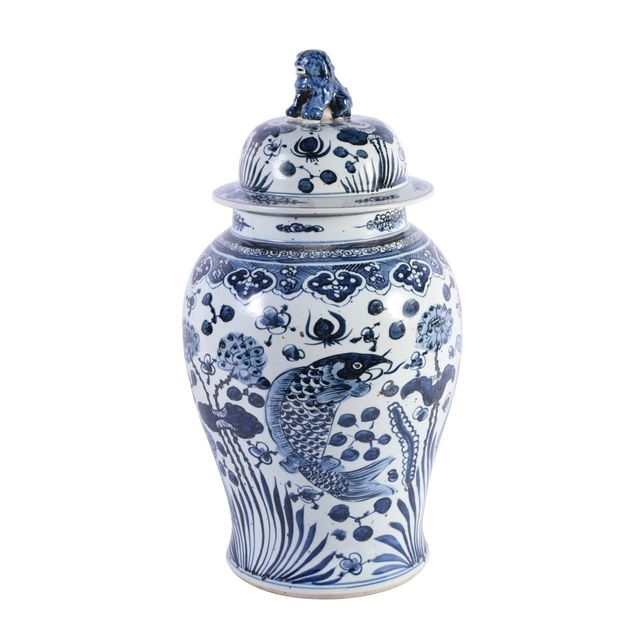 Blue and White Fish Temple Jar