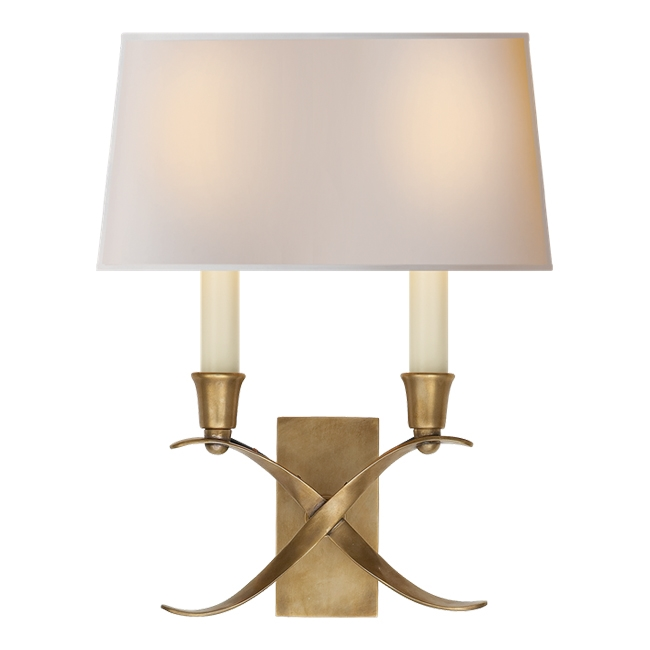 Cross Bouillotte Small Sconce in Antiqued Brass