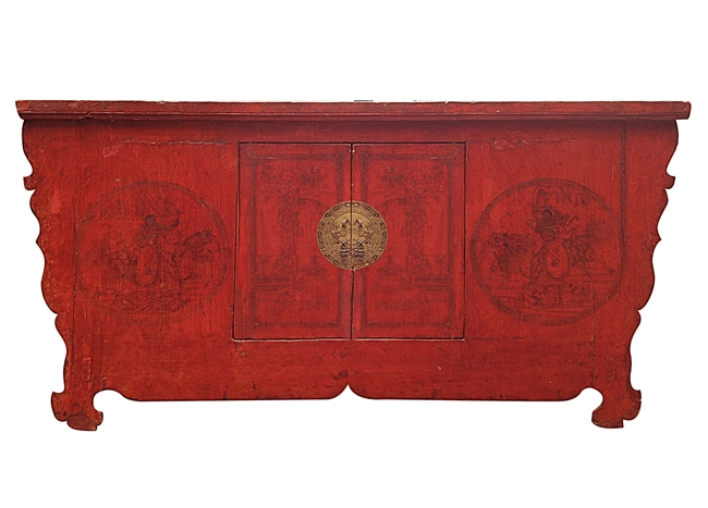 Red Coffer w/ Gold Medallion