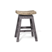 Grey Wood Swivel Counter Stool