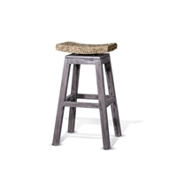 Grey Wood Swivel Bar Stool