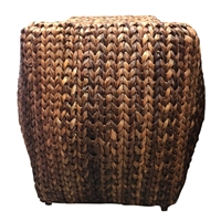 Rattan Wrapped Storage Stool