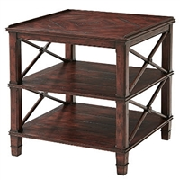 Distressed 3 Tier Lamp Table