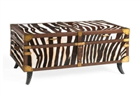 Zebra Leather Trunk