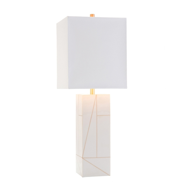 Cream & Gold Column Lamp