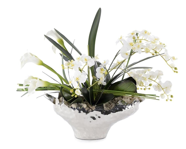 Chrome Bowl filled with Orchids