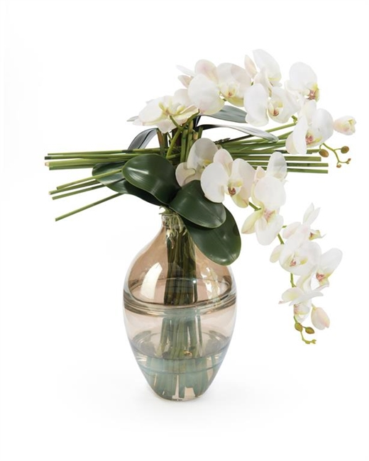 Gold and Clear Vase with Orchids
