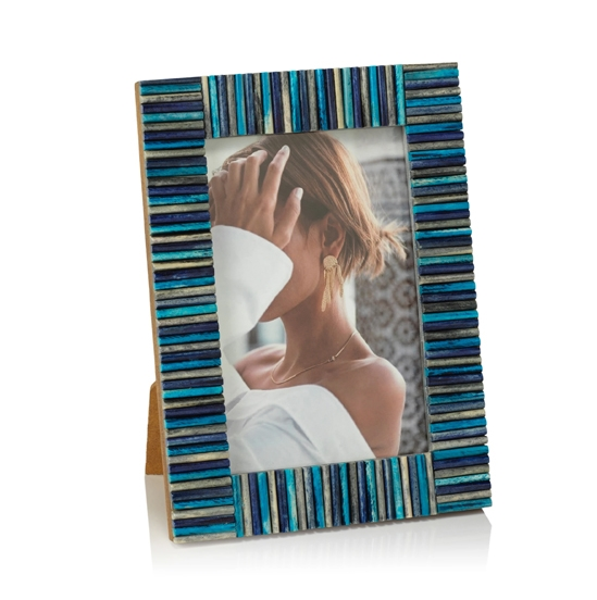 Biarritz Multi-Color Blue Bone Photo Frame