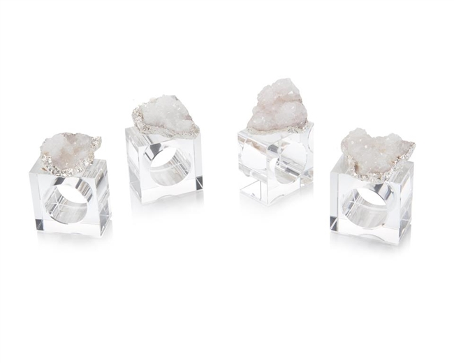 Set of 4 White and Silver Geode Napkin Rings