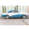 Blue and White Cuban Car